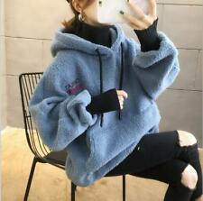 Womens Fashion Faux Lamb Fur Hooded Fade 2 PCS Pullover Hoodie Jacket Coat fz92