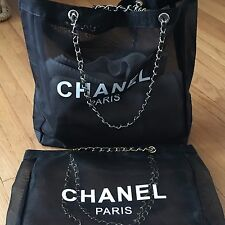 CHANEL Mesh Tote Bag CC Shoulder VIP Beach Black Gold Leather Chain Authentic