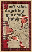 Tapping a brew 'Don't Start anything you can't finish' - 1907 Antique POSTCARD
