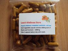 Organic Neem & Turmeric Capsules 60 caps - 1000mg ~ 100% Pure & Natural