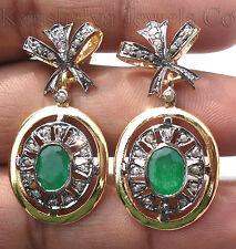 Victorian 1.52ct Rose Cut Diamond Emerald Christmas Wedding Women's Earrings