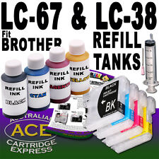 4 Refill Inkjet Tank Auto Reset Chip & 4 Inks, Fits Brother LC38 LC67, 4 Colours