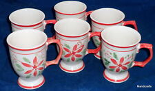 Mayfair & Jackson Coffee Mug x 6 Handpainted Poinsettia Pattern Christmas Footed