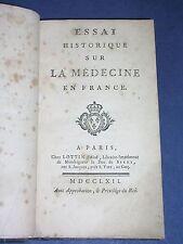 Médecine Chomel essai historique de la Médecine en France 1762 reliure