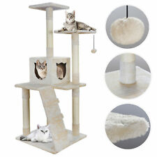 """52"""" Cat Beige Tree Bed Furniture Scratching Tower Post Condo Kitten Pet House"""