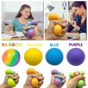 Squishy Rainbow Squeeze Ball Stress Anxiety Relief Novelty Soft Fidget Toy