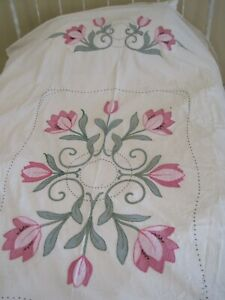 "STRIKING VINTAGE EMBROIDERED AND APPLIQUED QUILT TOP 90"" X 78"""