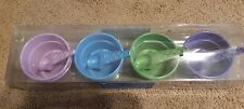New JCPenney Home Ice Cream Bowl Set 4 Bowls 4 Cone Shaped Spoons Old Fashion