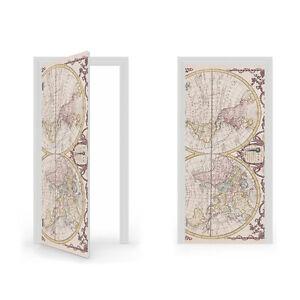 18th Century World Map Vinyl Sticker for Door / DoorWrap / Door Skin / Door S...