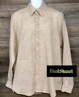 Paul Stuart Men's 100% Linen Beige Check Plaid Long Sleeve Button Down Shirt L