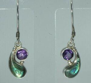 *SAJAN* Sterling Silver Amethyst & Abalone Dangle Earrings