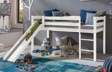 Hochbett TIMO ERNA Spielbett mit Rutsche Kiefer massiv Weiß Bett Kinderbett NEU