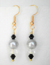 Light grey 8mm glass pearl and clear and black glass bead 4cm gold tone drop