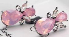 Pink / Clear Gem Stud Statement Earrings • Wedding Gift present BIRTHDAY EVENING