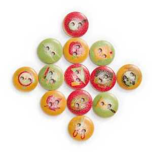 50pcs Tool Printing Wooden Buttons for Sewing Scrapbooking Handwork Decor 15mm