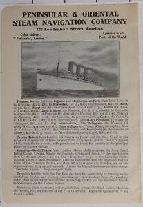 1914 Japan Japanisch Touristen Werbeanzeige Halbinsel & Oriental Dampf Navi & Co