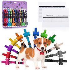 12 Pk Soft Nylon Colored Breakaway Whelping Litter Pet Collars with Identific.
