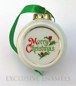 Alastor Enamels Merry Christmas Teddy Bear Round Hanging China Ornament