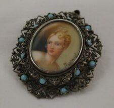 Antique Beautiful Silver Filigree &Turquoise Miniature Portrait Brooch / Pendant