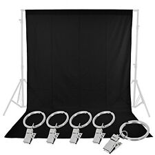 Neewer 6 x 9Ft / 1.8 x 2.8M Photography Black Backdrop Background with 5 Clamps