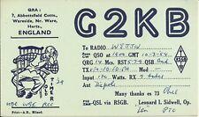 OLD VINTAGE G2KB HERTFORDSHIRE ENGLAND AMATEUR RADIO QSL CARD