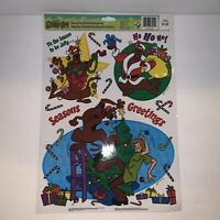 Vintage Scooby Doo Static Cling Window Decorations Shaggy Christmas E2