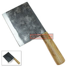 Handmade Carbon Steel Chef's Kitchen Cutlery Meat Cleaver Knife Hardwood Handle