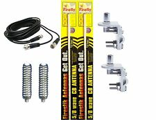 CB RADIO 2 FIRESTIK FL3 3FT WHITE ANTENNAS,12ft DUAL COAX, MOUNTS & SPRINGS