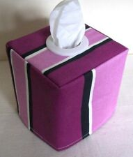 NEW  COUNTRY PRESTIGIOUS  FABRIC TISSUE BOX COVER WITH WHITE EYELET  PURPLE