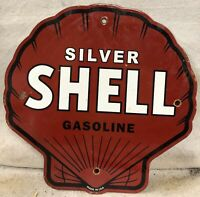 "VINTAGE 11.75"" SILVER SHELL GASOLINE PORCELAIN SIGN GAS & OIL SCENIC"