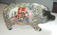 More details for large size vintage 1960s chinese pottery qianlong famille rose pig money box