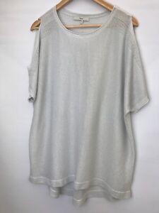 NEXT Sparkly Evening Cold Shoulder Top/Jumper Ladies UK XL Grey/Silver