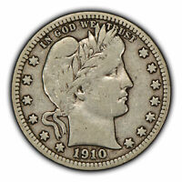 1910-D 25c Silver Barber Quarter - Mid-Grade Semi-Key Date Coin - SKU-Y3360