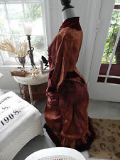 Antique Two Piece Victorian New England Gown ID'd Silk Velvet Bustle