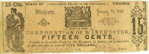 Virginia Corporation Winchester 15 Cents Obsolete Currency 1862