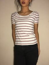 Stretchy White Red Black Crew Neck Tee Shirt Cute Sexy