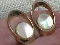 Pair VTG Cuff Links Cufflinks Gold Tone Mother of Pearl MOP Shell Oval