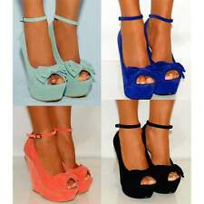 PEEP TOES WEDGED PLATFORMS ANKLE STRAP HIGH HEELS WEDGES PROM PARTY SHOES SIZE