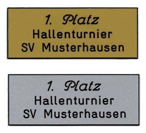Schild (Gr.S=1,8x4,8 cm) für Pokal,Briefkasten,Tür inkl.3 Zeilen Gravur 2,00 EUR