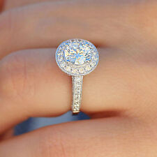 14K SOLID WHITE GOLD ROUND CUT SIMULATED DIAMOND ENGAGEMENT RING BRIDAL 2.50CTW