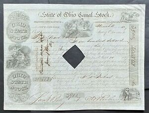 STATE of OHIO CANAL Stock 1842. $900. Ohio Canal Commisssion. BEAUTY.  VF ++