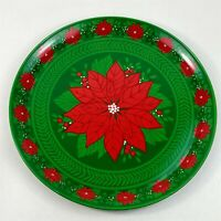 "Christmas Serving Tray Large 14"" Metal Green Red Poinsettias Vintage"