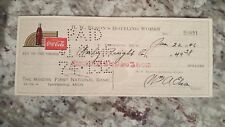1946 vintage coca cola check to The Miners' National Bank ishpeming, MI Jan 22nd