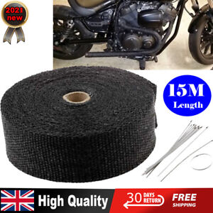 15M Black Exhaust Heat Wrap Manifold Downpipe High Temp Bandage Tape Roll +TIES