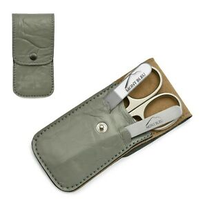 Mont Bleu 3-piece Manicure Set & Crystal Nail File in Grey Eco-Leather Case WIEN