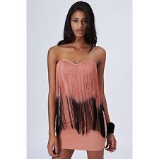 Topshop fringe bandeau dress by Rare UK 14 in Nude ( New with tags )