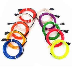 Neon LED Light Glow EL Wire Flexible 1M 2M 3M 3V 12V USB Controller Party Decor