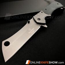 "8"" TACTICAL Spring Assisted Open Pocket Knife CLEAVER RAZOR WOOD FOLDING Blade"
