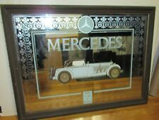Rare Vintage Mercedes The Car Of Kings Bar Mirror Framed In Wood