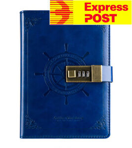 B6 Blue Rudder Leather Vintage password Lock Notebook Diary JOURNAL Express